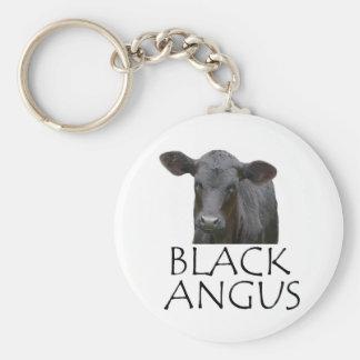 Schwarze Angus-Kuh Schlüsselanhänger