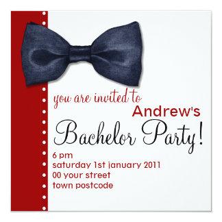 Schwarze BowTie Junggeselle-Party Einladung