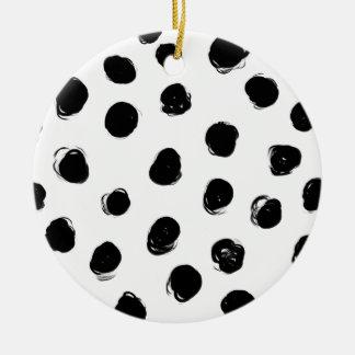 Schwarze Bürstenpunkte mit weißem Hintergrund Rundes Keramik Ornament