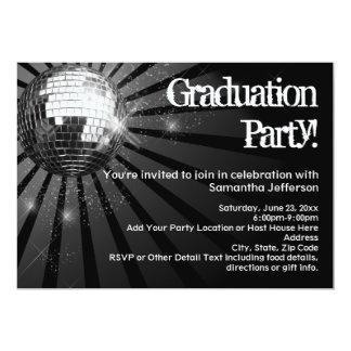 Schwarze Disco-Ball-Abschluss-Party Einladungen
