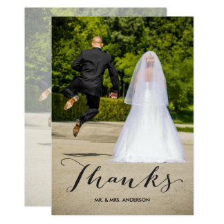 Schwarze Foto-Hochzeit der Kalligraphie-| danken 12,7 X 17,8 Cm Einladungskarte