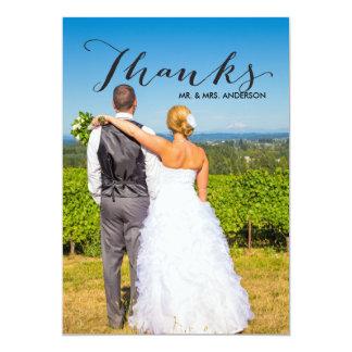 Schwarze Foto-Hochzeit des Skript-| danken Ihnen 12,7 X 17,8 Cm Einladungskarte