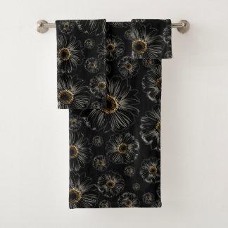 Schwarze Gänseblümchen Badhandtuch Set