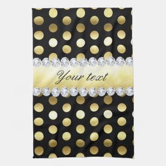 Schwarze Goldfolien-Tupfen-Diamanten Handtuch