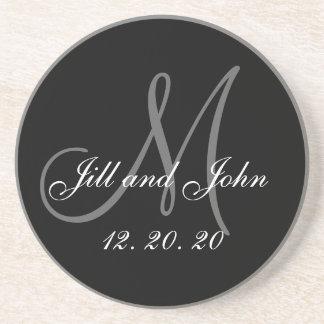 Schwarze graue elegante Monogramm-Hochzeit Untersetzer