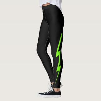 Schwarze grüne Blitz-Bolzen-Neongamaschen Leggings