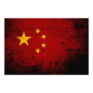 Schwarze Grunge-China-Flagge Fotodruck