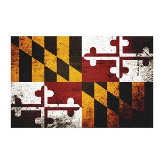 Schwarze Grunge-Maryland-Staats-Flagge Gespannter Galerie Druck