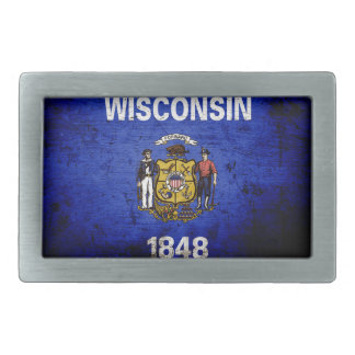 Schwarze Grunge-Wisconsin-Staats-Flagge Rechteckige Gürtelschnalle