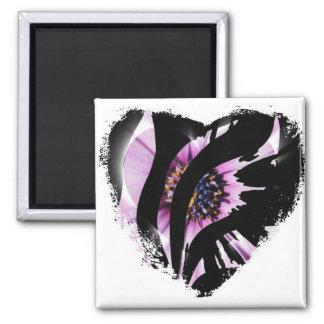 Schwarze Herz-Streifen Quadratischer Magnet