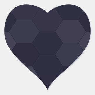Schwarze Hexagone Herz-Aufkleber