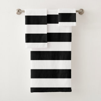 Schwarze horizontale Streifen Badhandtuch Set