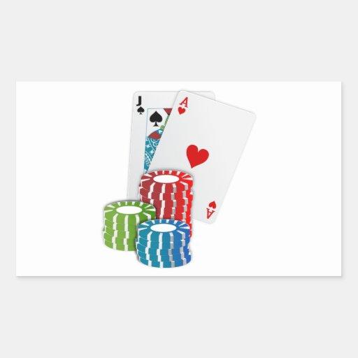 Schwarze Jack-Karten mit Poker-Chips Rechteckige Aufkleber