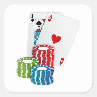 Schwarze Jack-Karten mit Poker-Chips Quadrataufkleber