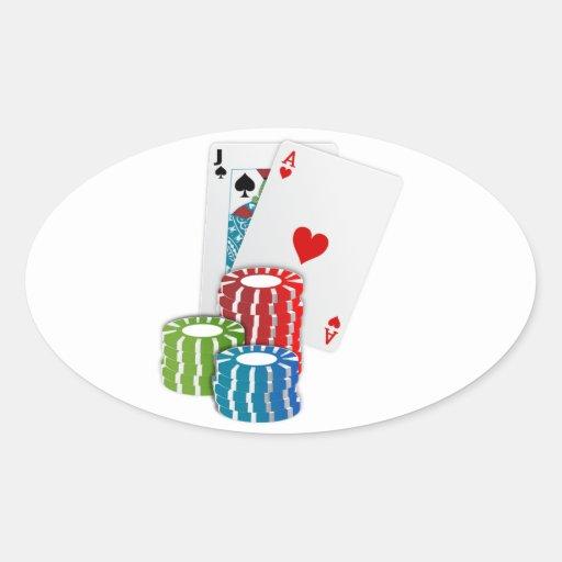 Schwarze Jack-Karten mit Poker-Chips Ovale Aufkleber