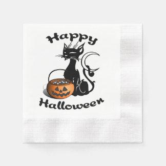 Schwarze Katze Halloweens Papierserviette