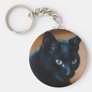 Schwarze Katze - keychain Standard Runder Schlüsselanhänger