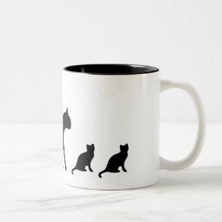 Schwarze Katze u. Kätzchen-Tasse Zweifarbige Tasse