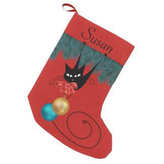 Schwarze Katze u. Verzierungs-personalisierter Kleiner Weihnachtsstrumpf
