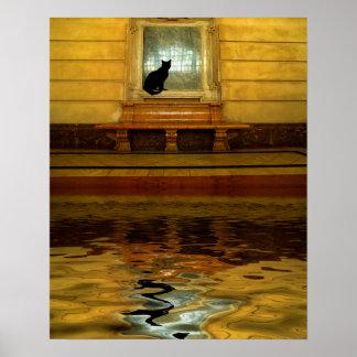Schwarze Katze Überwasser Poster