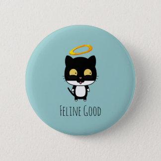 Schwarze Katzen-lustiges Wortspiel mit Halo - Runder Button 5,7 Cm