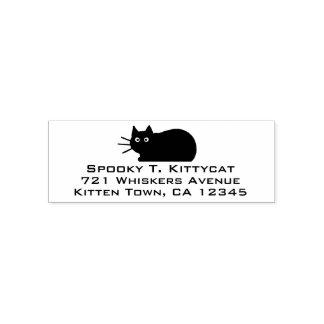Schwarze Katzen-Rücksendeadresse Permastempel