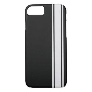 Schwarze Kohlenstoff-Faser u. weißer Streifen iPhone 8/7 Hülle