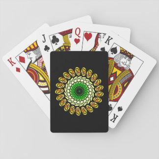 Schwarze kosmische grüne orange geometrische pokerdeck