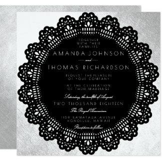 Schwarze Kreis-Verzierungs-silberne Folie Karte