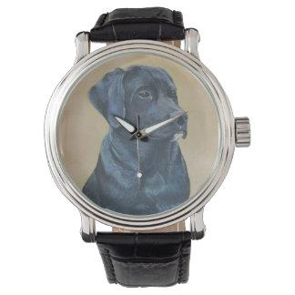 schwarze Labrador-Hundeporträt-Realistkunst Uhr