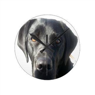 Schwarze Labrador-Wand-Uhr Runde Wanduhr