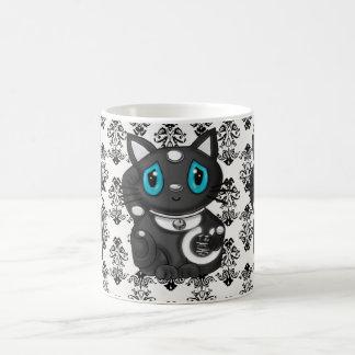 Schwarze Maneki Neko Damast-viel Glück-Katze Tasse