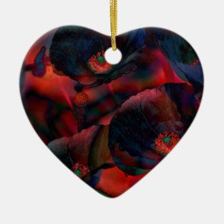 Schwarze Mohnblumen Keramik Herz-Ornament