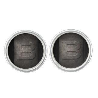 Schwarze Monogramm-Paare des Metallb Manschettenknöpfe