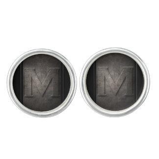 Schwarze Monogramm-Paare des Metallm Manschetten Knöpfe