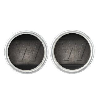Schwarze Monogramm-Paare des Metallw Manschettenknöpfe