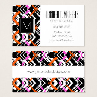 Schwarze, orange und rosa Hand gezeichnetes Visitenkarten