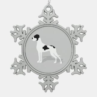 Schwarze Piebald-Deutsche Dogge Schneeflocken Zinn-Ornament