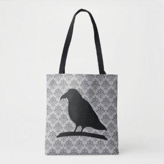 Schwarze Raben-Vogel-Form mit Damast-Hintergrund