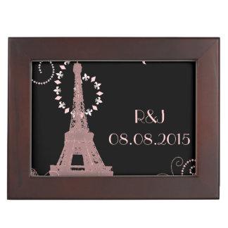 schwarze rosa Vintage Paris-Hochzeit Eiffel-Turms Erinnerungsdose