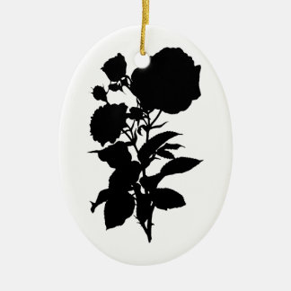 Schwarze Rosen-Silhouette Keramik Ornament