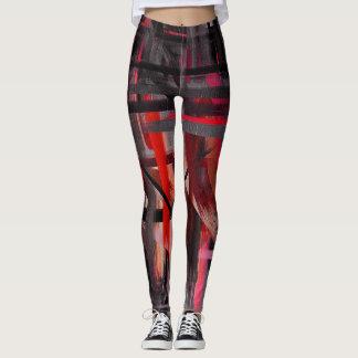 Schwarze rote abstrakte Malerei Leggings