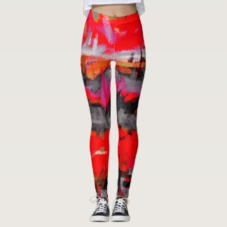 Schwarze rote orange abstrakte Malerei Leggings