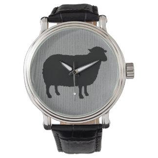 Schwarze Schaf-Silhouette Uhr