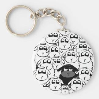 Schwarze Schafe Standard Runder Schlüsselanhänger