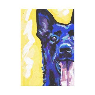 Schwarze Schäferhund-Leinwand eingewickelte Galerie Gefaltete Leinwand