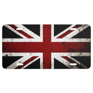 Schwarze Schmutz-England-Flagge 3a US Nummernschild
