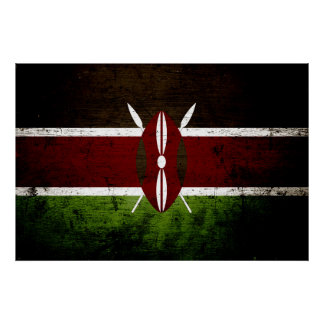 Schwarze Schmutz-Kenia-Flagge Poster