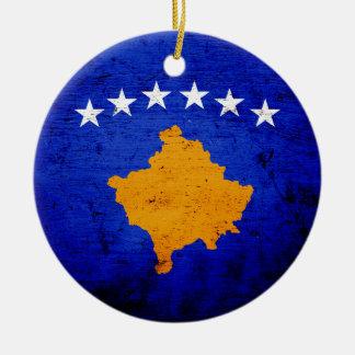 Schwarze Schmutz-Kosovo-Flagge Keramik Ornament