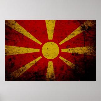 Schwarze Schmutz-Mazedonien-Flagge Poster